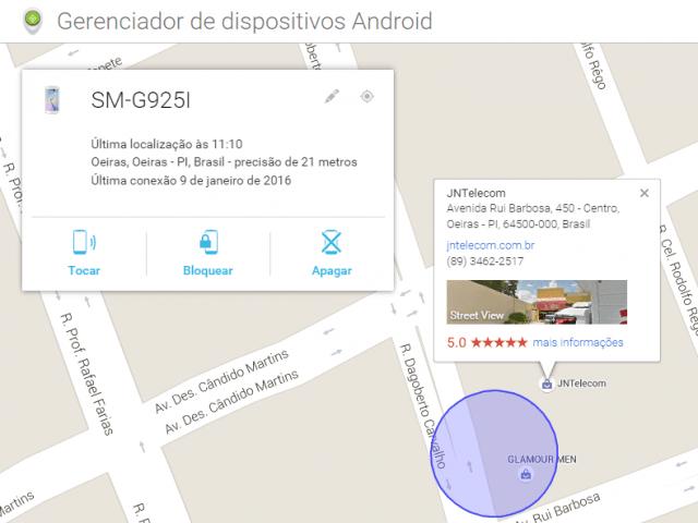 Mapa do recursos Android Device Manager mostra, automaticamente, onde está o gadget (Foto: Reprodução/Erenito Junior)
